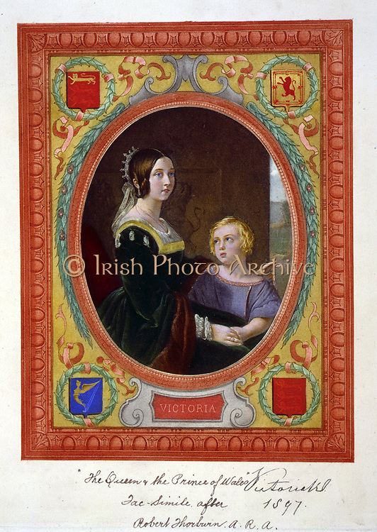 Victoria (1820-1901) Queen of Great Britain and Ireland,  with the Prince of Wales (later Edward VII) as a boy. Lithograph published c1897 to mark the Queen's Jubilee.