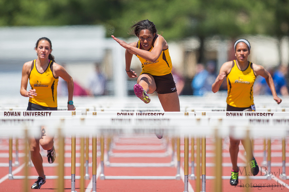 Rowan University's Jamie Thompson Perry competes in the women's 100 meter hurdles finals at the NJAC Track and Field Championships at Richard Wacker Stadium on the campus of  Rowan University  in Glassboro, NJ on Sunday May 5, 2013. (photo / Mat Boyle)