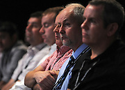 © Licensed to London News Pictures. 29/09/2011. LONDON, UK. BAE Systems workers, who are at risk of loosing their jobs,  sit during an emergency motion over their plight at The Labour Party Conference in Liverpool today (29/09/11). Photo credit:  Stephen Simpson/LNP