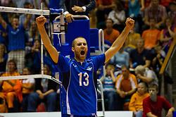 12-09-2010 VOLLEYBAL: EK KWALIFICATIE NEDERLAND - ESTLAND: ROTTERDAM<br /> Andres Toobal EST is blij<br /> ©2010-WWW.FOTOHOOGENDOORN.NL / Peter Schalk