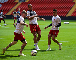 LIVERPOOL, ENGLAND - Monday, May 21, 2018: Liverpool's Roberto Firmino, Virgil van Dijk and Alberto Moreno during a training session at Anfield ahead of the UEFA Champions League Final match between Real Madrid CF and Liverpool FC. (Pic by Paul Greenwood/Propaganda)