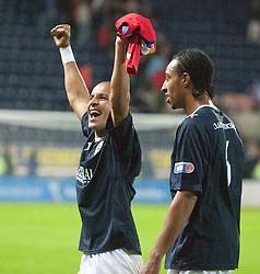 Falkirk's Farid El Alagui cele at the end..Falkirk 3 v 2 Rangers..©Pic : Michael Schofield.