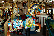 The lead horse on the B&B Carousell (the double-l is original) is this Abraham Lincoln horse carved by Marcus Charles Illions to commemorate the 100th anniversary of Lincoln's birth in 1909, with a shiny cape with Lincoln's bas-relief portrait. The carousel dates to 1906, and was restored using original methods starting in 2008. It is now on the National Register of Historic Places.