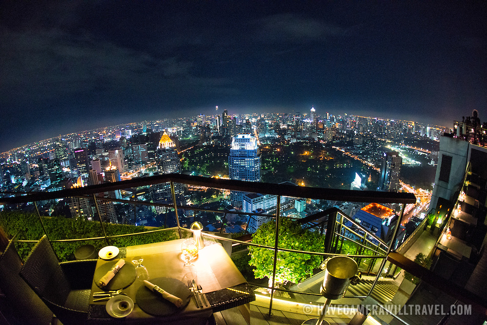 A view of the lights of Bangkok city at night from the Vertigo restaurant on top of the Banyan Tree Hotel.