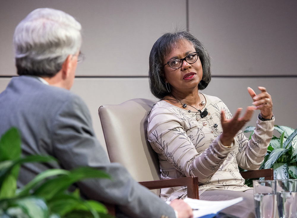 """Photo by Mara Lavitt<br /> October 30, 2017<br /> Yale University, New Haven, CT<br /> Photography: ©Mara Lavitt<br /> Lawyer and professor Anita Hill in conversation with Yale President Peter Salovey for the """"Women of Yale Lectures,"""" at Evans Hall, Yale School of Management. A reception and dinner followed the conversation."""