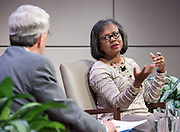 "Photo by Mara Lavitt<br /> October 30, 2017<br /> Yale University, New Haven, CT<br /> Photography: ©Mara Lavitt<br /> Lawyer and professor Anita Hill in conversation with Yale President Peter Salovey for the ""Women of Yale Lectures,"" at Evans Hall, Yale School of Management. A reception and dinner followed the conversation."