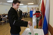 Moscow, Russia, 02/03/2008..A Russian student voting in the Presidential election that President Vladimir Putin's chosen heir Deputy Prime Minister Dmitry Medvedev is expected to win easily in the first round.