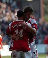 Photo: Tony Oudot.<br />Charlton Athletic v Wigan Athletic. The Barclays Premiership. 31/03/2007.<br />Jerome Thomas and Hermann Hreidarsson of Charlton celebrate at the end of the match