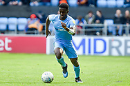 Coventry City defender Brandon Mason (3) sprints forward with the ball during the EFL Sky Bet League 1 match between Coventry City and Shrewsbury Town at the Ricoh Arena, Coventry, England on 28 April 2019.