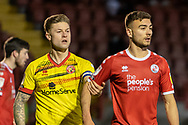 Crawley Town forward Nick Tsaroulla (#35) is marked in the box during the EFL Sky Bet League 2 match between Crawley Town and Walsall at The People's Pension Stadium, Crawley, England on 16 March 2021.