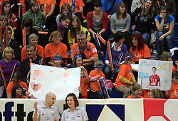 Fans of AC, Matija Plesko and Alen Sket at last final volleyball match of 1.DOL Radenska Classic between OK ACH Volley and Salonit Anhovo, on April 21, 2009, in Arena SGS Radovljica, Slovenia. ACH Volley won the match 3:0 and became Slovenian Champion. (Photo by Vid Ponikvar / Sportida)