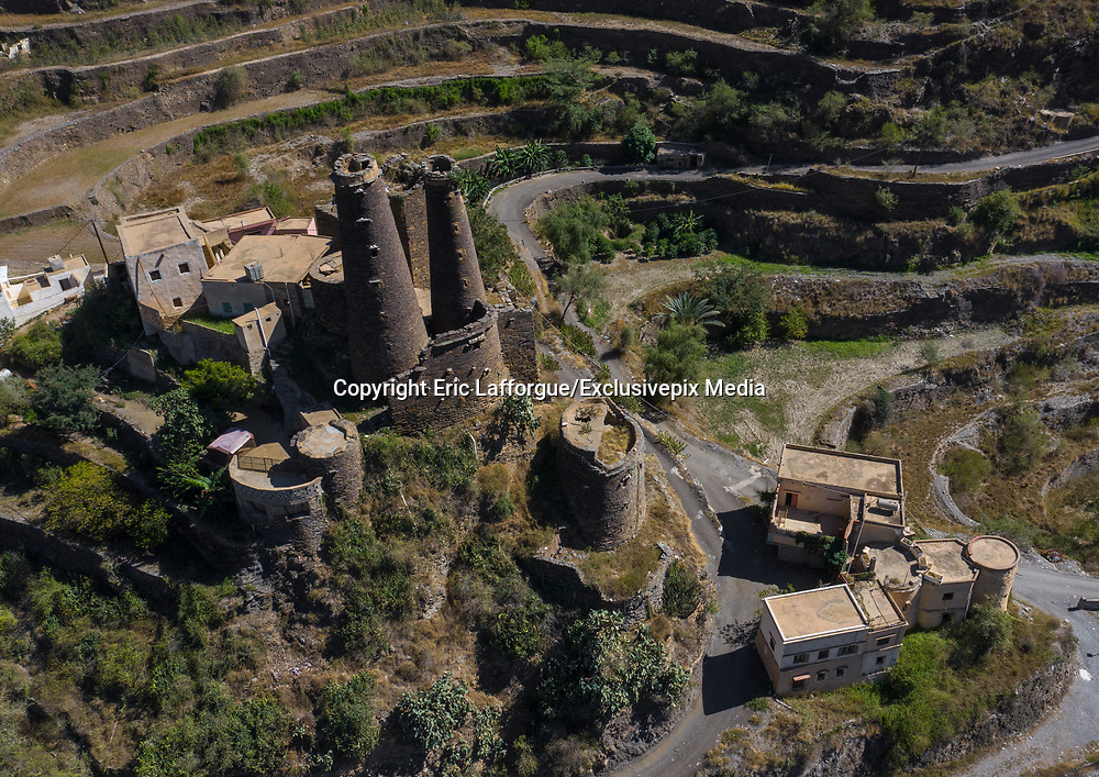 SAUDI ARABIA FROM ABOVE<br /> Traditional stone watchtowers standing tall in Addayer village, Jizan province. The terraced land around the buildings allows locals to grow coffee in this remote mountainous area. Saudi people are very protective of their privacy, but when shown these drone pictures, they were excited to see their land from above for the first time