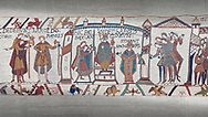 Bayeux Tapestry scene 29 - 30: Harold is proclaimed King then crowned. .<br /> <br /> If you prefer you can also buy from our ALAMY PHOTO LIBRARY  Collection visit : https://www.alamy.com/portfolio/paul-williams-funkystock/bayeux-tapestry-medieval-art.html  if you know the scene number you want enter BXY followed bt the scene no into the SEARCH WITHIN GALLERY box  i.e BYX 22 for scene 22)<br /> <br />  Visit our MEDIEVAL ART PHOTO COLLECTIONS for more   photos  to download or buy as prints https://funkystock.photoshelter.com/gallery-collection/Medieval-Middle-Ages-Art-Artefacts-Antiquities-Pictures-Images-of/C0000YpKXiAHnG2k