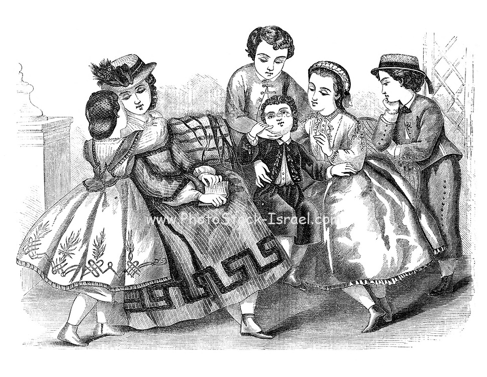 Godey's children's Fashion for summer 1864 from Godey's Lady's Book and Magazine, June 1864, Philadelphia, Louis A. Godey, Sarah Josepha Hale,