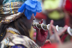 August 14, 2017 - Dhaka, 1206, Bangladesh - A Bangladeshi youth dressed as the Hindu God Krishna takes part in a procession during celebrations for the Janmashtami festival in Dhaka, Bangladesh. (Credit Image: © Nayan Kumar/Pacific Press via ZUMA Wire)