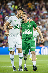 August 7, 2017 - Barcelona, Catalonia, Spain - Chapecoense defender NETO and Chapecoense midfielder LUIS MANUEL SEIJAS leave the field after having kicked off the 52nd Joan Gamper Trophy at the Camp Nou stadium in Barcelona (Credit Image: © Matthias Oesterle via ZUMA Wire)