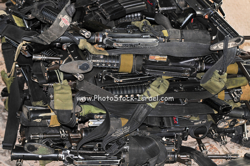 A pile of M16 rifles