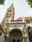 View of the steeple over St. Maria's Church, Augsburg, Bavaria, Germany