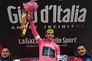 Podium Simon Yates (GBR - Mitchelton - Scott) pink leader jersey celebration during the 101th Tour of Italy, Giro d'Italia 2018, stage 14, San Vito Al Tagliamento - Monte Zoncolan 181 km on May 19, 2018 in Italy - Photo Ilario Biondi / BettiniPhoto / ProSportsImages / DPPI