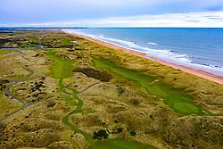 Aerial view of Trump International Golf Links golf course at Belmedie in Aberdeenshire, Scotland, UK