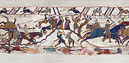 Scene 54 -  Williams brother Bishop Odon encourages the Norman soldiers to fight. Battle of Hastings 1066. .<br /> <br /> If you prefer you can also buy from our ALAMY PHOTO LIBRARY  Collection visit : https://www.alamy.com/portfolio/paul-williams-funkystock/bayeux-tapestry-medieval-art.html  if you know the scene number you want enter BXY followed bt the scene no into the SEARCH WITHIN GALLERY box  i.e BYX 22 for scene 22)<br /> <br />  Visit our MEDIEVAL ART PHOTO COLLECTIONS for more   photos  to download or buy as prints https://funkystock.photoshelter.com/gallery-collection/Medieval-Middle-Ages-Art-Artefacts-Antiquities-Pictures-Images-of/C0000YpKXiAHnG2k