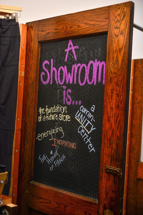 Display sign at lululemon athletica Akron showroom.