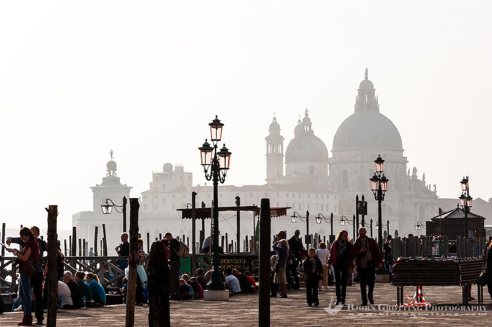 Italy, Venice. Santa Maria della Salute in the background.