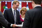 14 FEBRUARY 2011 - PHOENIX, AZ: US Congressman JEFF FLAKE (center) talks to his wife CHERYL FLAKE and his staff before announcing that he is running for the US Senate seat being vacated by retiring US Sen. Jon Kyl before Flake's press conference in Phoenix, Monday, Feb.14. Congressman Flake has been in the US House of Representatives since 2001. He is considered a conservative Republican but supports loosening sanctions against Cuba and some form of comprehensive immigration reform. He represents a conservative neighborhood in Mesa, AZ, a suburb of Phoenix.   Photo by Jack Kurtz
