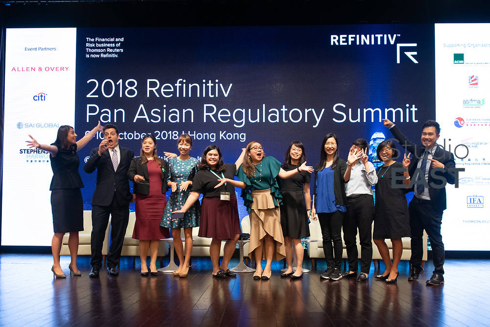 Team photo during The Refinitiv Pan Asian Regulatory Summit 2018 at Grand Hyatt hotel, in Hong Kong, China, on 10 October 2018. Photo by Lucas Schifres/Studio EAST