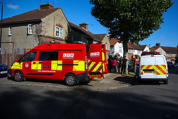 © Licensed to London News Pictures. 06/09/2020. London, UK. The scene on The Link, Enfield in north London were a woman died following a house fire. London Fire Brigade was called to the scene at 2.19am early this morning. Firefighters wearing breathing apparatus bought a woman out of the property and she was pronounced dead at the scene. The fire is under investigation. Photo credit: Dinendra Haria/LNP