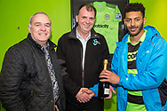 Forest Green Rovers Liam Noble(15) receives his man of the match award from Glevum Security during the Vanarama National League match between Forest Green Rovers and Chester FC at the New Lawn, Forest Green, United Kingdom on 14 April 2017. Photo by Shane Healey.