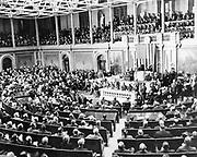 US President Franklin Roosevelt addressesses Congress to Declare war on Japan, 1941
