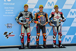 September 22, 2018 - Alcaniz, Teruel, Spain - Marcel Schrotter (23) of Germany and Dynavolt Intact GP Kalex, Brad Binder (41) of Republic of South Africa and Red Bull KTM Ajo KTM and  Jorge Navarro (9) of Spain and Federal Oil Gresini Moto2 Kalex during qualifying for the Gran Premio Movistar de Aragon of world championship of MotoGP at Motorland Aragon Circuit on September 22, 2018 in Alcaniz, Spain. (Credit Image: © Jose Breton/NurPhoto/ZUMA Press)