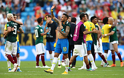 Brazil's Neymar celebrates after the final whistle