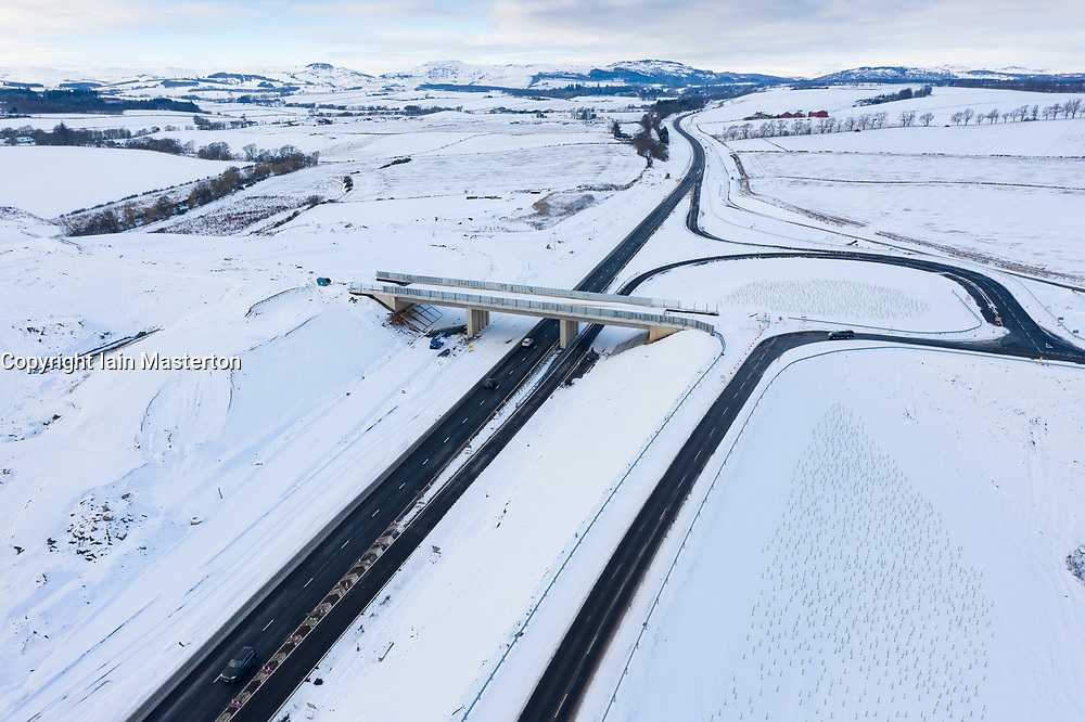 Bankfoot, Perthshire, Scotland, UK. 11 Feb 2021. Aerial view of construction site of A9 upgrading project between Luncarty and Pass of Birnam. This section of the A9 will be upgraded to dual carriageway and is anticipated to be completed by winter 2021. The Scottish Government's latest Infrastructure Investment Plan (IIP) does not commit to finishing dialling the entire length of the A9 by 2025 as originally anticipated.Iain Masterton/Alamy Live news