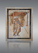 A Tragic Actor of the Roman theatre. 2nd - 3rd century Roman Mosaic from the Alcazar of Cordoba, Spain .<br /> <br /> If you prefer to buy from our ALAMY PHOTO LIBRARY Collection visit : https://www.alamy.com/portfolio/paul-williams-funkystock/roman-mosaic.html . Type -   Cordoba     - into the LOWER SEARCH WITHIN GALLERY box. Refine search by adding background colour, place, museum etc<br /> <br /> Visit our ROMAN MOSAIC PHOTO COLLECTIONS for more photos to download as wall art prints https://funkystock.photoshelter.com/gallery-collection/Roman-Mosaics-Art-Pictures-Images/C0000LcfNel7FpLI