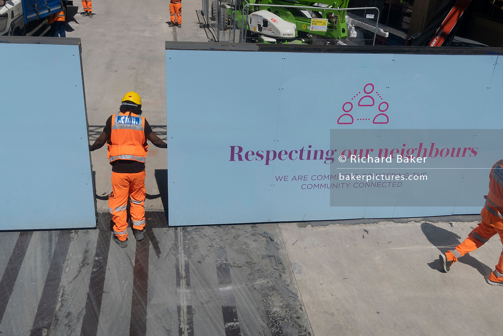 Contact construction workers on site at a location on Queen Victoria Street in Victoria, on 23rd June 2021, in Westminster, London, England.