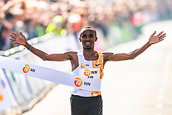 07-04-2019 NED: 39e NN Rotterdam Marathon, Rotterdam<br /> Abdi Nageeye is the first Dutchman to cross the finish line during the 39th edition of the NN marathon in Rotterdam in a new Dutch record 2:06:17.