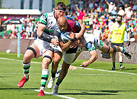 Rugby Union -2020/2021 Gallagher Premiership - Round 22 -<br />Harlequins vs Newcastle Falcons - The Stoop<br /><br />Aaron Morris battles with Adam Radwan and Sean Robinson