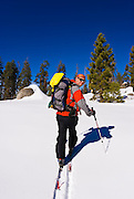 Backcountry skier on Panther Peak, Sequoia National Park, California
