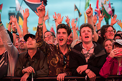 The crowd watch Radiohead performing during the Glastonbury Festival at Worthy Farm in Pilton, Somerset. Picture date: Friday June 23rd, 2017. Photo credit should read: Matt Crossick/ EMPICS Entertainment.