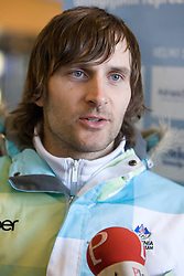 Slovenian alpine skier Ales Gorza at arrival to Airport Joze Pucnik from Vancouver after Winter Olympic games 2010, on February 25, 2010 in Brnik, Slovenia. (Photo by Vid Ponikvar / Sportida)
