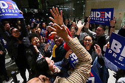 Supporters and campaign staffers cheer after a small campaign event of former Vice President Joe Biden and Dr. Jill Biden at the National Constitution Center, in Philadelphia, PA, on March 10, 2020.