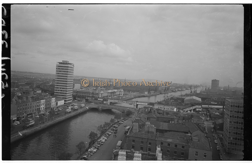 A View Of Dublin City...A view of Dublin taken in the late sixties. The view was taken looking down the River Liffey toward the sea. Liberty Hall is in the left Foreground.