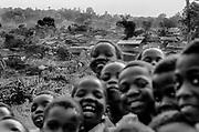 School boys and shanty town. Kampala, Uganda