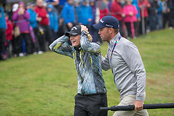 Sweden's Linda Wessberg can't believe it as she celebrates a surprise win after fighting back from 3 down in their semi final match with Great Britain this morning during day eleven of the 2018 European Championships at Gleneagles PGA Centenary Course. PRESS ASSOCIATION Photo. Picture date: Sunday August 12, 2018. See PA story GOLF European. Photo credit should read: Kenny Smith/PA Wire. RESTRICTIONS: Editorial use only, no commercial use without prior permission