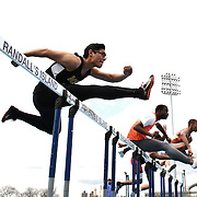 High School athletes during the 110m hurdles heats at the 2013 NYC Mayor's Cup Outdoor Track and Field Championships at Icahn Stadium, Randall's Island, New York USA.13th April 2013 Photo Tim Clayton