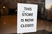 This store is now closed sign on Oxford Street on 21st January 2020 in London, England, United Kingdom. With much economic uncertainty in the UK following Brexit and with more competition from online retailers, the high street is facing difficult times.