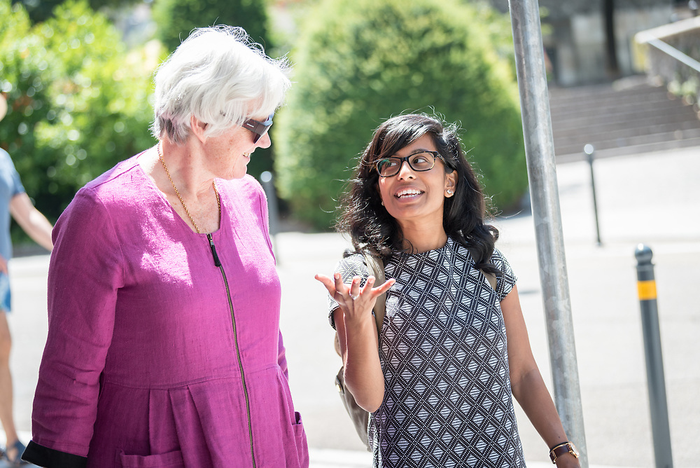 """1 July 2018, Geneva, Switzerland: Cheryl Philip (right) in conversation with Church of Sweden Archbishop Antje Jackelén (left). Following Sunday service at the Evangelical Lutheran Church in Geneva, LWF Council members journeyed from Geneva to Nyon by boat across Lake Geneva. The 2018 LWF Council meeting takes place in Geneva from 27 June - 2 July. The theme of the Council  is """"Freely you have received, freely give"""" (Matthew 10:8, NIV). The LWF Council meets yearly and is the highest authority of the LWF between assemblies. It consists of the President, the Chairperson of the Finance Committee, and 48 members from LWF member churches in seven regions."""