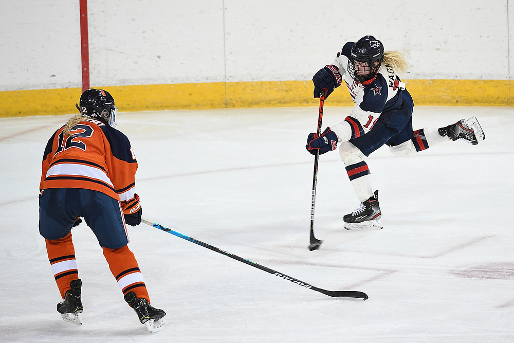 ERIE, PA - MARCH 06: Marah Wagner #19 of the Robert Morris Colonials attempts a shot on goal in the third period during the CHA Tournament Championship game against the Syracuse Orange at the Erie Insurance Arena on March 6, 2021 in Erie, Pennsylvania. (Photo by Justin Berl/Robert Morris Athletics)